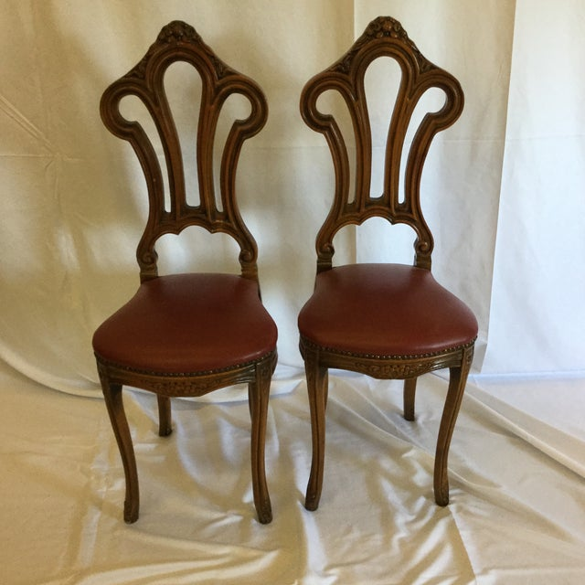 Adorable solid wood carved accents chairs ready for your makeover. Solid and not loose. Easily functional or just for...