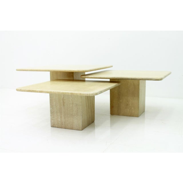 Set of Three Italian Travertine Side Tables 1970s For Sale - Image 4 of 13