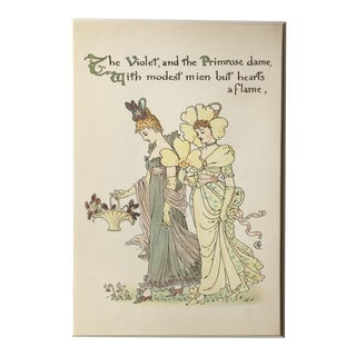 Late 19th Century Antique the Violet & Primrose - Alphabet Flowers Lithograph Print For Sale