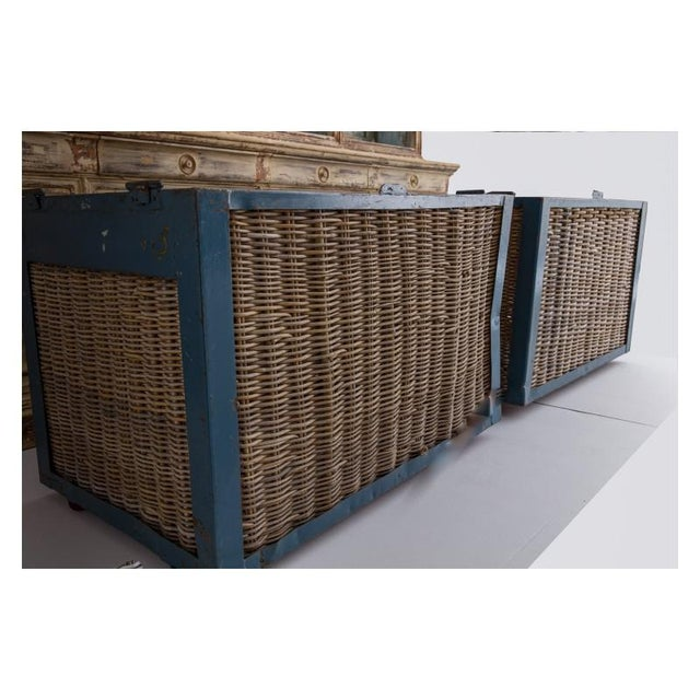 French Pair of Large French Industrial Wicker Baskets For Sale - Image 3 of 11