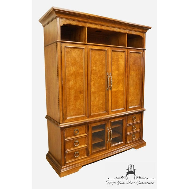 "Asian Stanley Furniture Contemporary Oak and Burled Walnut 72"" Media Tv Console Cabinet For Sale - Image 3 of 12"