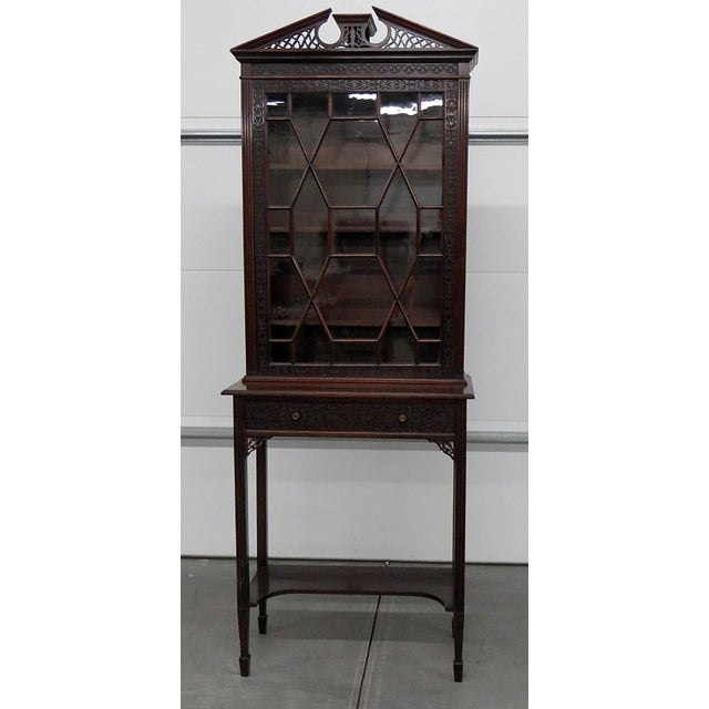 19thC Georgian collectors cabinet with one door containing 3 shelves over 1 drawer.