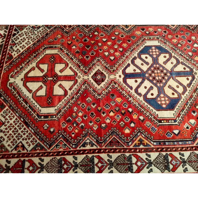 1960s Vintage Persian Shiraz Tribal Carpet - 5′ × 9′8″ For Sale In Chicago - Image 6 of 10