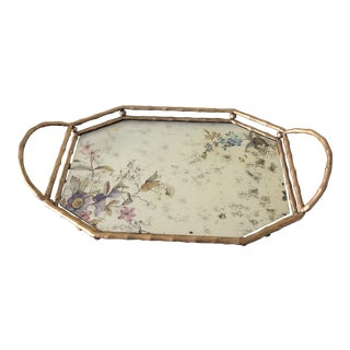 1990s Art Nouveau Glass Floral Serving Tray For Sale