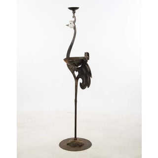 Wrought Iron Peacock Form Cigar Stand Candle Holder Preview