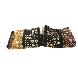 """Bogolan Mali Mud Cloth Textile Set of Two 40"""" by 60"""" For Sale"""