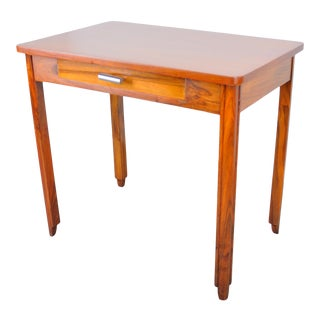 Antique French Art Deco Style Walnut Writing Desk W/ One Drawer For Sale