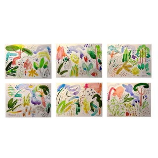 "Set of 6 Original Watercolor Paintings of English Garden. 11x15"" For Sale"