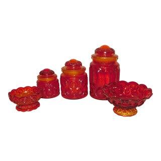 L.E. Smith Moon & Stars Glassware - Set of 5 For Sale