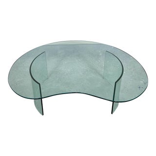 Late 20th Century Glass Kidney-Shaped Coffee Table For Sale