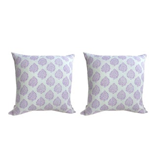 John Robshaw Fabric Mali in Lavender Pillows - a Pair For Sale
