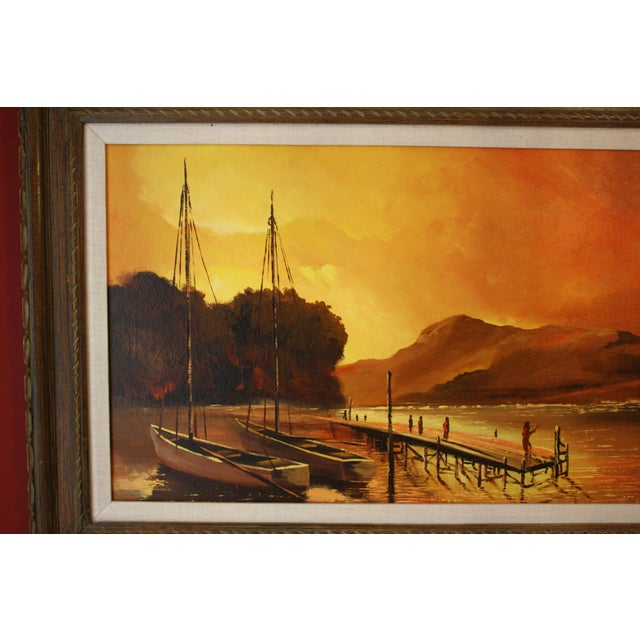 1970s Vintage Julio Carballosa Original Oil on Canvas Landscape Painting For Sale - Image 4 of 11