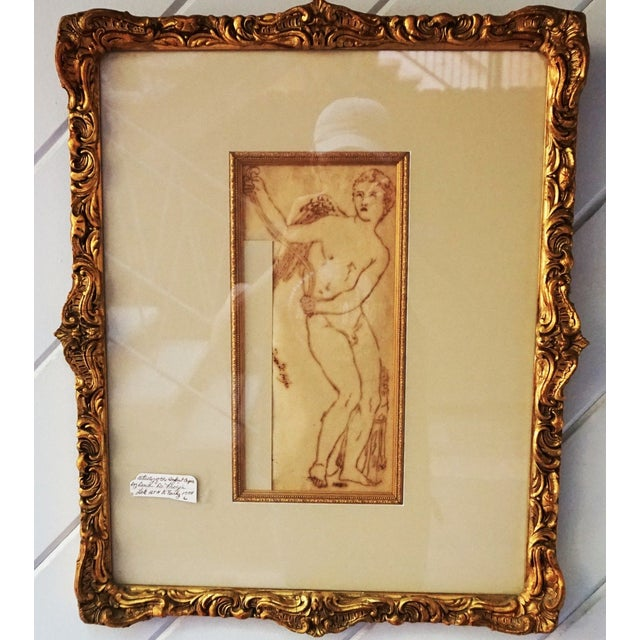 Drawing/Sketching Materials 17th Century Antique Duca DI Frigia Infant Cupid Italian Pen and Ink Framed Drawing For Sale - Image 7 of 7