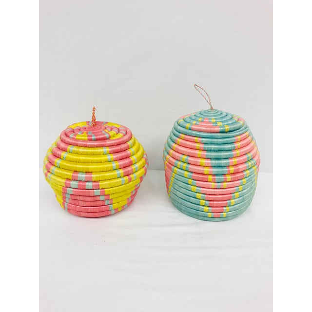 Pink/Yellow & Blue/Pink African Artisan Baskets - A Pair - Image 11 of 11