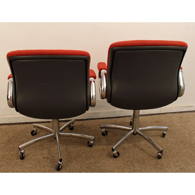 Mid-Century Danish Modern Red Chrome Steelcase Office Chairs on Wheels - a Pair For Sale In Philadelphia - Image 6 of 11