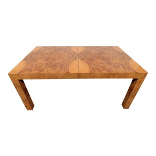Mid-Century Modern Milo Baughman Burled Walnut Dining Table For Sale
