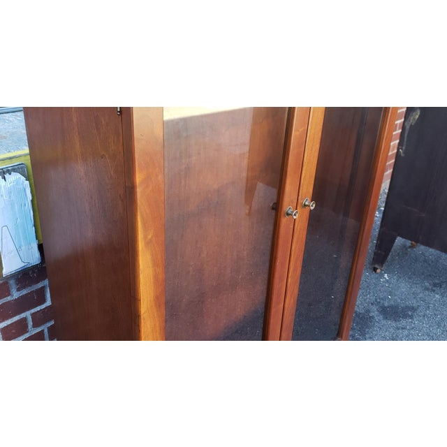 Very Nice 1930s Walnut Double Glass Door Hallway Bookcase Cabinet For Sale - Image 4 of 9
