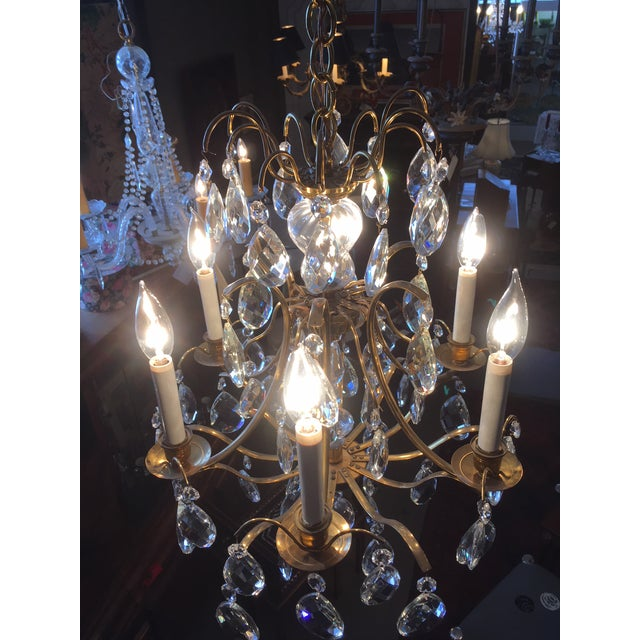 Mid Century Solid Brass Crystal Marie Therese Style French Chandelier 1950s/60s For Sale - Image 10 of 13