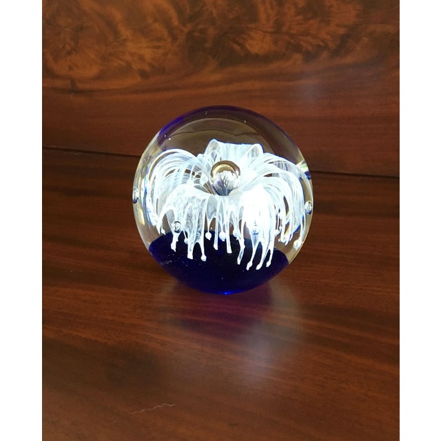 1990s Cobalt Blue Glass Art Paper Weight With Fringed White Flower For Sale - Image 5 of 9