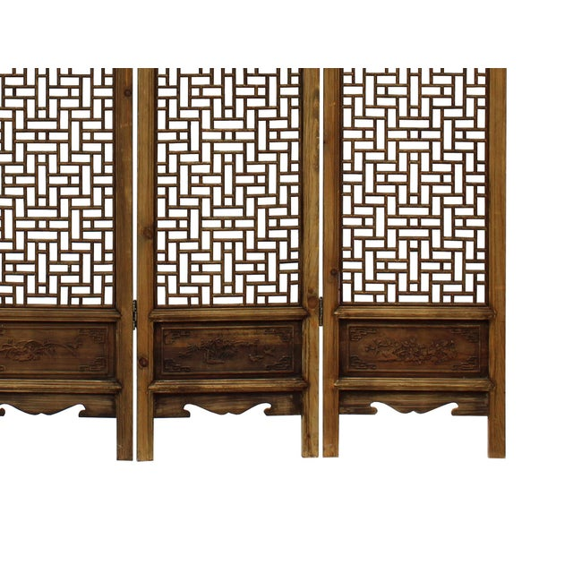 Chinese Vintage Finish Geometric Pattern Wood Panel Screen For Sale - Image 5 of 10