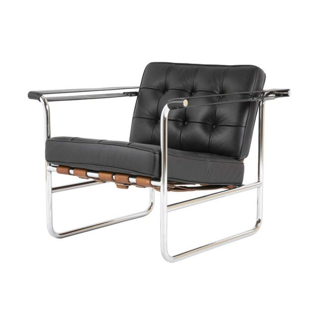 Hans Eichenberger for De Sede HE 113 Black Leather Chair With Cognac Straps For Sale In New York - Image 6 of 6