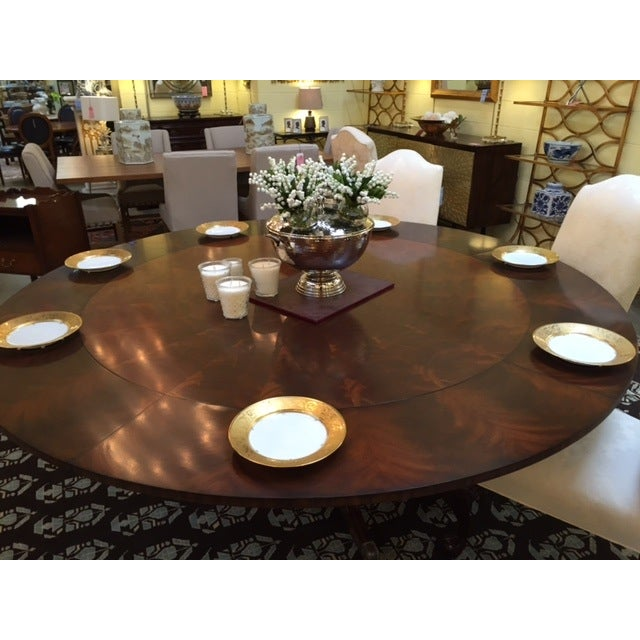 Maitland Smith Round Mahogany Table with Leaves - Image 5 of 9