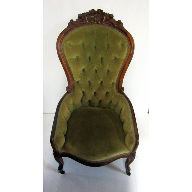 Traditional Victorian Chair With Green Velvet Upholstery For Sale - Image 3 of 11