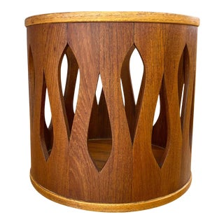 Jens Quistgaard for Dansk Staved Teak Wastebasket, Stool, or Table, Late 1950s For Sale
