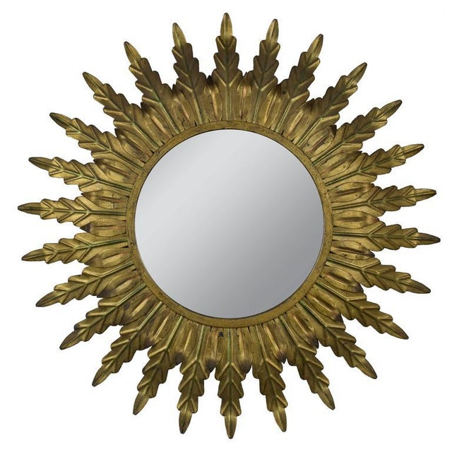 Gilt Metal Sunburst Mirror With Radiating Leaves and Traces of Green - Image 6 of 6