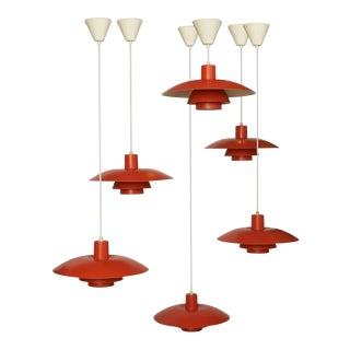 1980s Poul Henningsen Orange Pendant PH-4/3 For Sale
