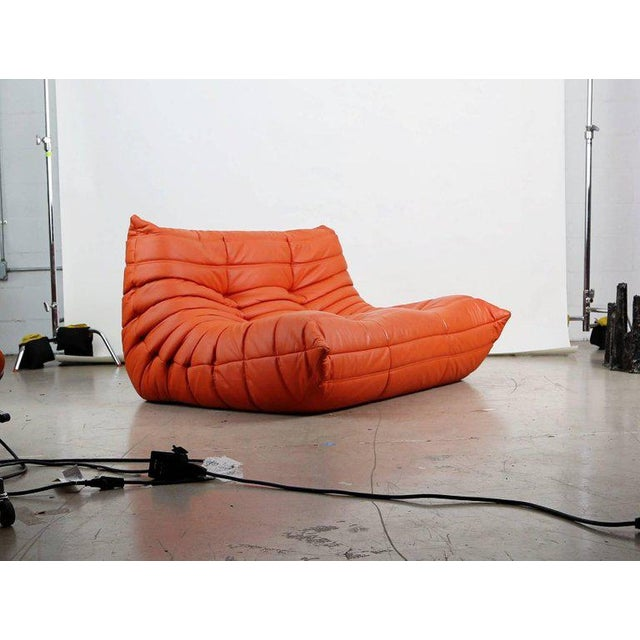 Leather Togo Loveseat in Orange Leather by Michel Ducaroy for Ligne Roset, France For Sale - Image 7 of 13