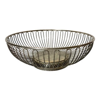 Mid-Modern Stainless Steel Wire Basket For Sale