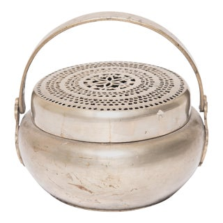 19th Century Chinese Brass Brazier With Floral Top For Sale