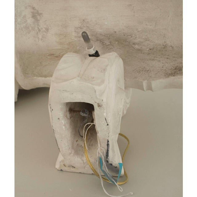 Plaster French 1940s Neoclassic White Plaster Capital Wall Sconces - a Pair For Sale - Image 7 of 9