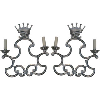 Pair of Metal Coronet Sconces For Sale
