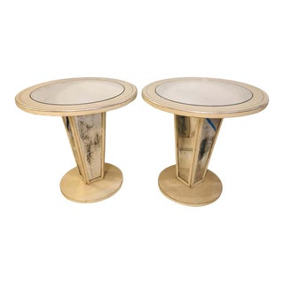 Hollywood Regency Paint Decorated Mirrored Side, End or Lamp Tables - a Pair For Sale