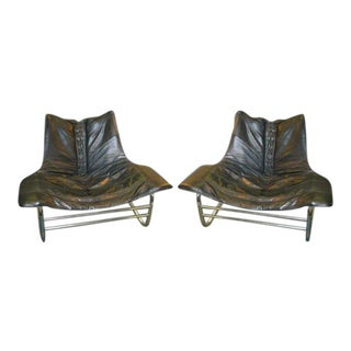 1970s Corset Laced Leather & Chrome Lounge Sling Chairs - a Pair For Sale