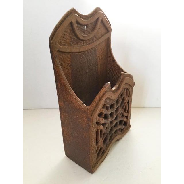 Ceramic Mid Century Modern Artisan Ceramic Wall Pocket For Sale - Image 7 of 7