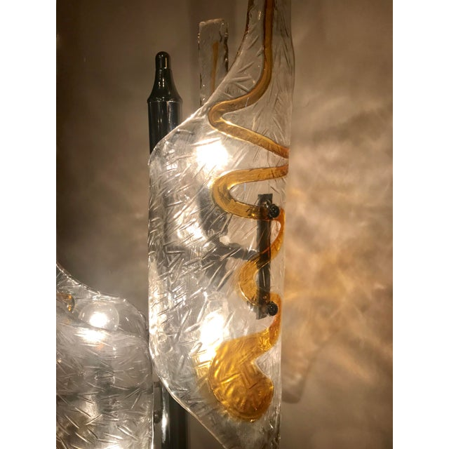 Silver Tubular Murano Glass Floor Lamp by Mazzega For Sale - Image 8 of 9