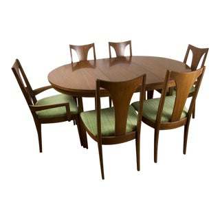 Vintage Mid Century Modern Broyhill Emphasis Walnut Round Oval Pedestal Dining Table With 2 Leaves & 6 Chairs
