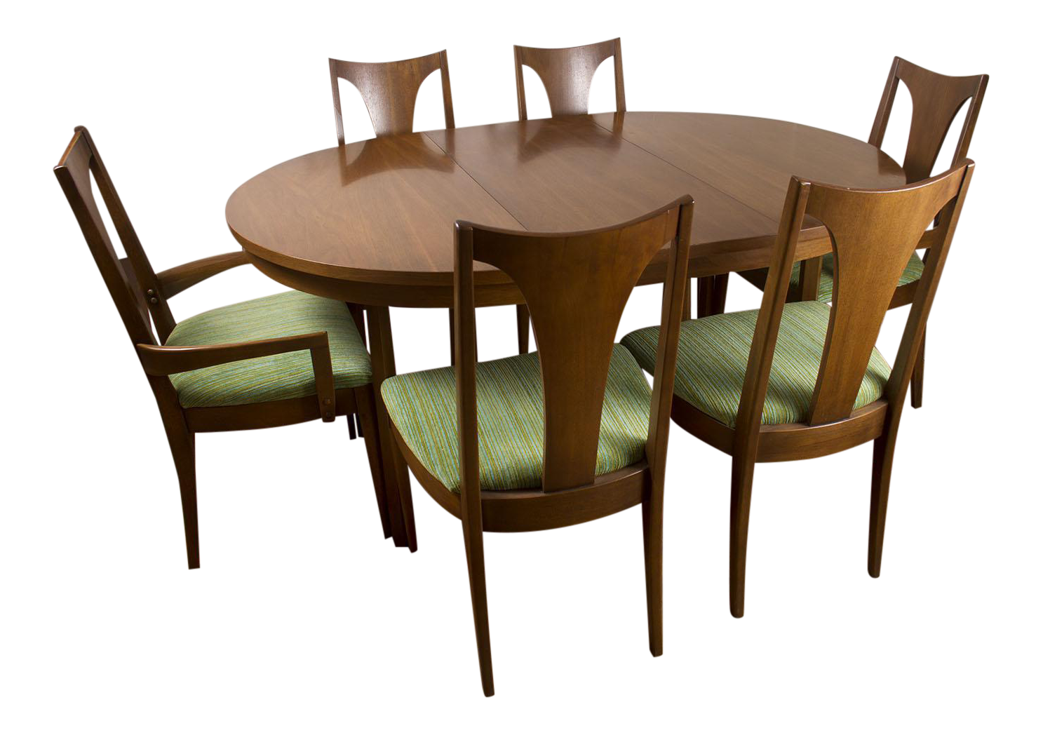 Vintage Mid Century Modern Broyhill Emphasis Walnut Round Oval Pedestal Dining  Table With 2 Leaves U0026 6 Chairs