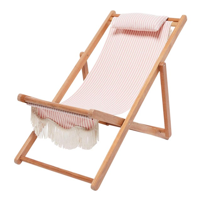 Sling Outdoor Chair - Lauren's Pink Stripe with Fringe For Sale
