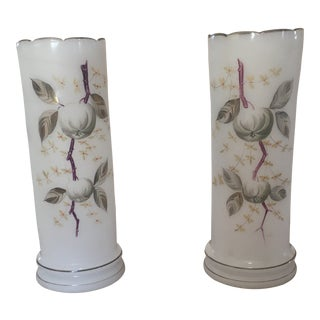 Vintage Antique French Enameled Handpainted Opaline Glass Vases - a Pair For Sale