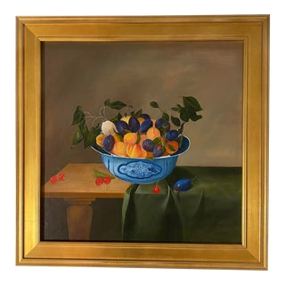 Late 20th Century Still Life Oil Painting, Plums and Peaches, Signed, Framed. For Sale