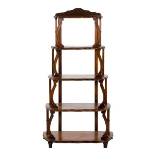 Mid 19th Century Antique Victorian Walnut 5 Tier Etagere Shelf For Sale