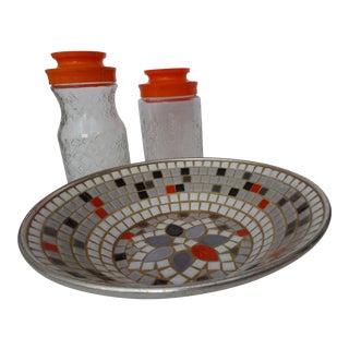 Vintage Orange Accents Mosaic Bowl & Jars - Set of 3