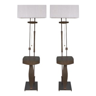 Mid-century Modern Bronze & Iron Sculptural Floor Lamps- A Pair