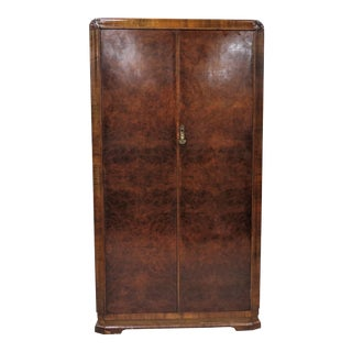 Mid Century English Fitted Burled Walnut Double Door Wardrobe or Armoire For Sale