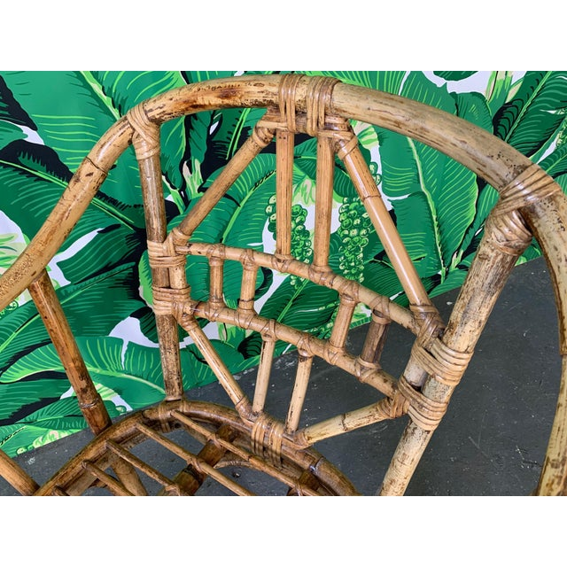 Wood Brighton Style Pavilion Rattan Dining Chairs - Set of 6 For Sale - Image 7 of 9
