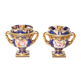 Pair of 19th Century English Porcelain Fruit Coolers With Covers For Sale